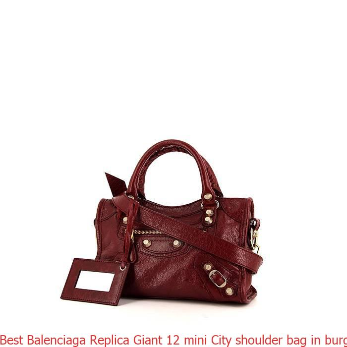 8a0fcf091fe Best Balenciaga Replica Giant 12 mini City shoulder bag in burgundy leather