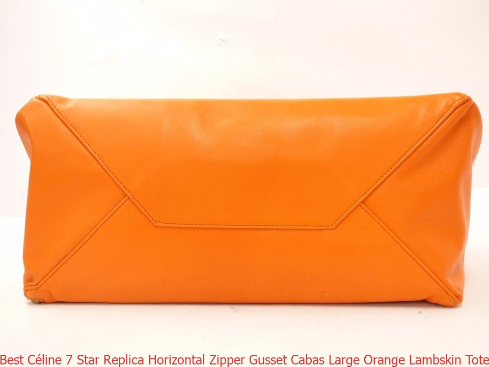 Best Céline 7 Star Replica Horizontal Zipper Gusset Cabas Large Orange  Lambskin Tote celine bag sale 032fc08711856
