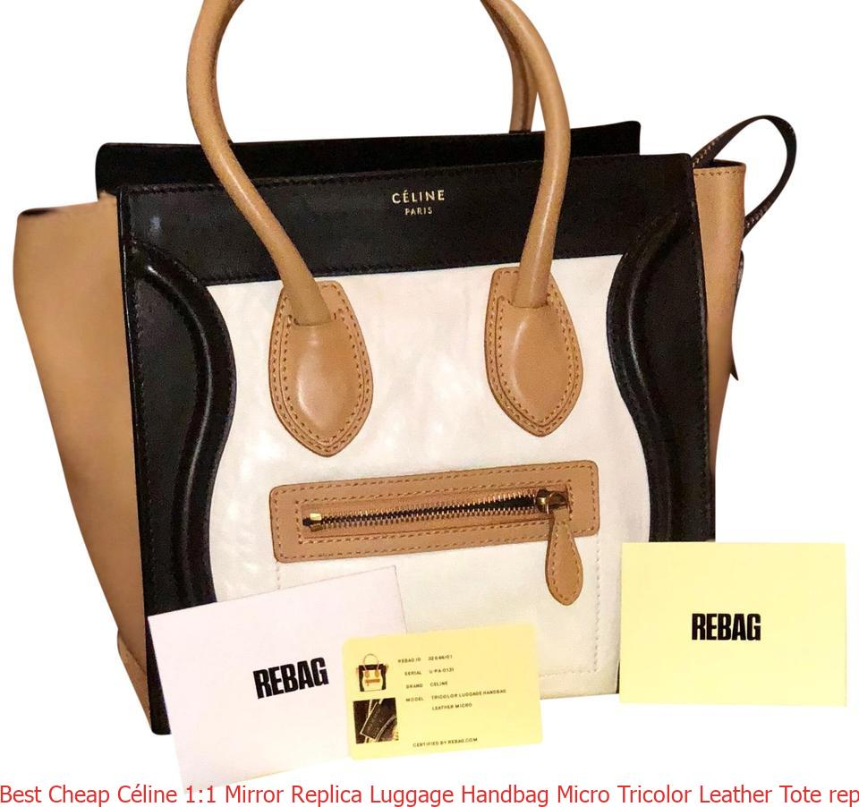 4fa9b3e137b8 Best Cheap Céline 1:1 Mirror Replica Luggage Handbag Micro Tricolor Leather  Tote replica designer handbags uk