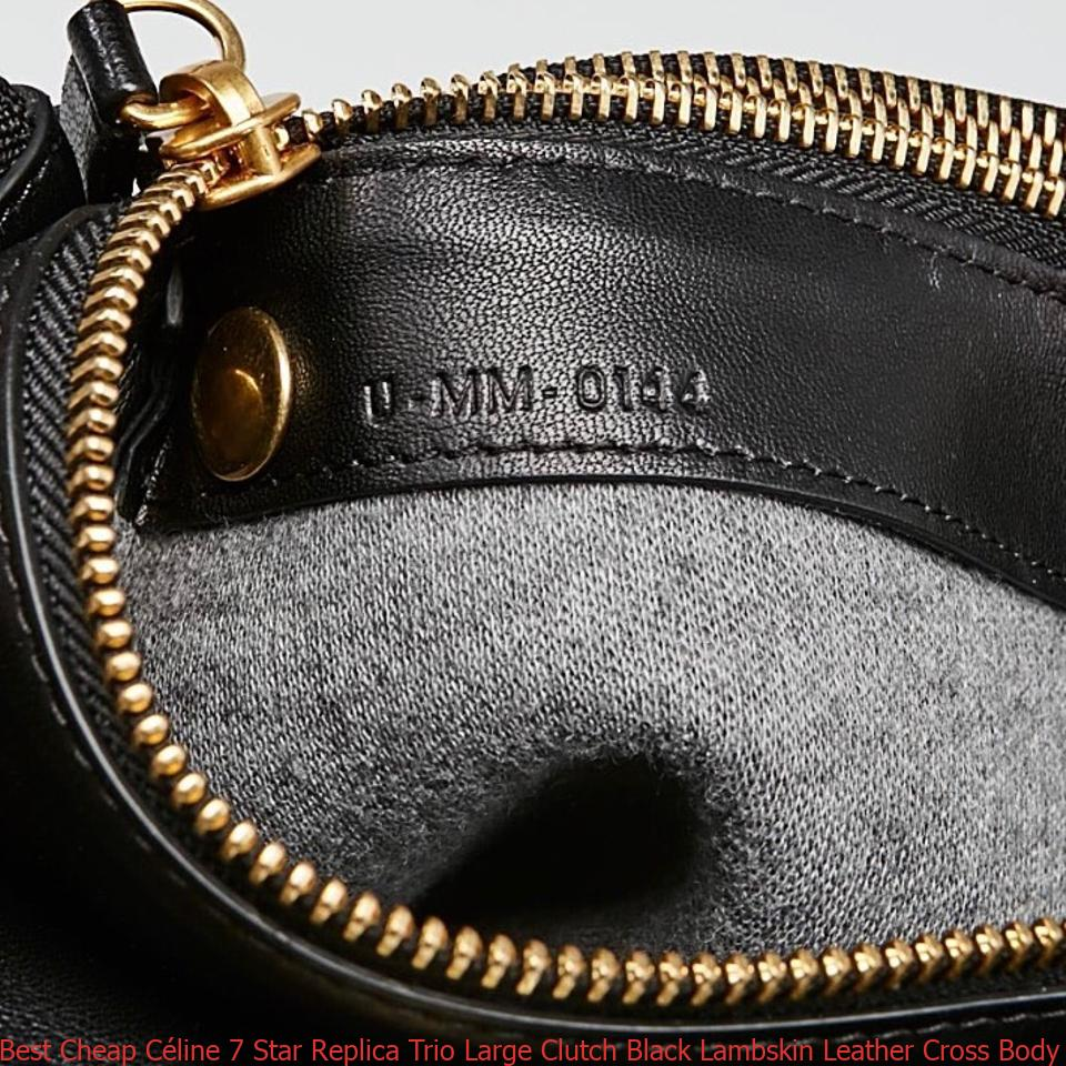 Best Cheap Céline 7 Star Replica Trio Large Clutch Black Lambskin Leather Cross  Body Bag fake designer bags china e655ee8d4bb6e