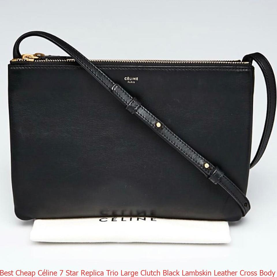 Best Cheap Céline 7 Star Replica Trio Large Clutch Black Lambskin Leather  Cross Body Bag fake designer bags china a4c5279940854