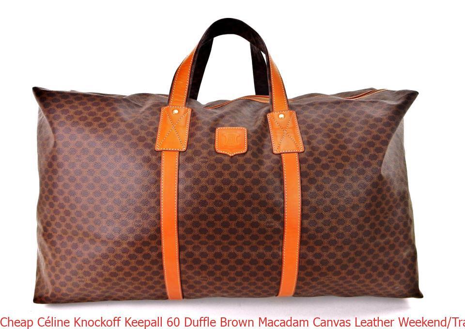 b3b17735c0f8 Cheap Céline Knockoff Keepall 60 Duffle Brown Macadam Canvas Leather  Weekend/Travel Bag celine replica bag price