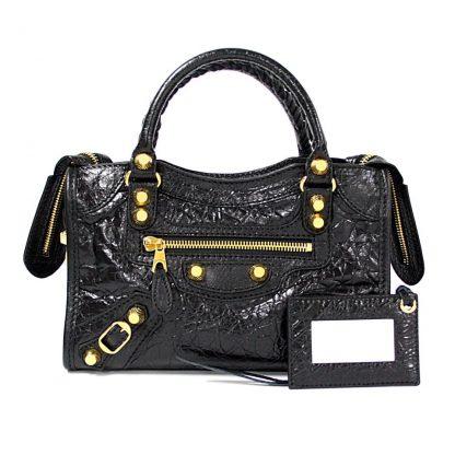 5a72d7ea346 High Quality Balenciaga 7 Star Replica Giant 12 Gold Mini City Black  Lambskin Leather Satchel balenciaga ville bag