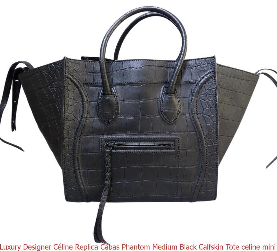 cbab576e10602 Luxury Designer Céline Replica Cabas Phantom Medium Black Calfskin Tote  celine mini belt bag
